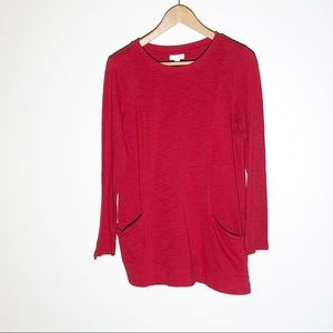 J JILL red sweater with slouch pockets SZ S